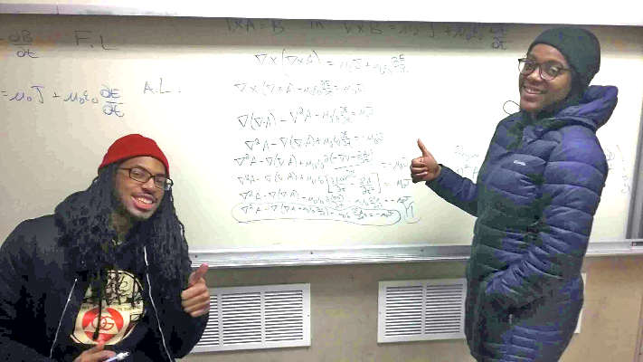 Physics students Travante Thompson and Donielle Miller