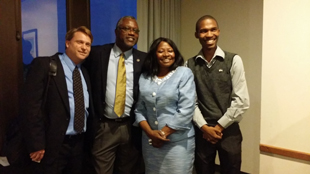 Southern African Media Executive, Dean Collins and Dr. King with YALI Fellow (L – R)